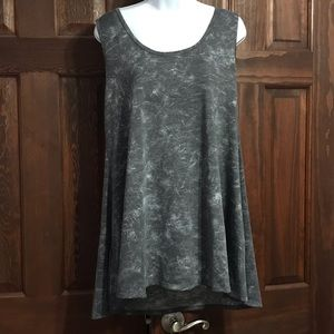 Lularoe Perfect Tank Gray Distress Tye Die